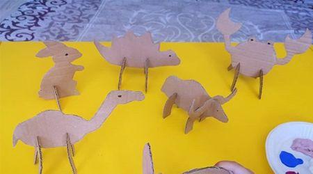Kartondan 3D Hayvanlar Kesip Boyadık