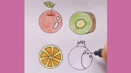 Dairelerden Kolay Çizim Meyveler