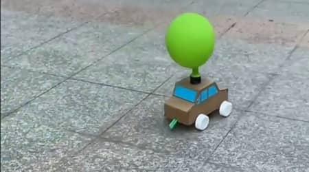 Balon ile Hareket Eden Kartondan Araba