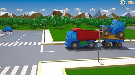 İş Makineleri - Sarı Ekskavatör Mavi Traktöre Karşı