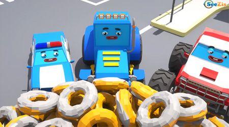 İş Makineleri - Traktör, Polis ve Canavar Kamyon Çörek Peşinde